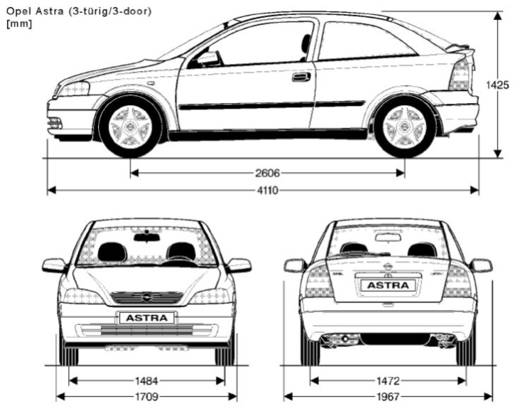 Opel Astra G 3 dvéř. rozměry