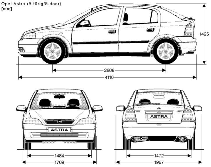 Opel Astra G hatchback rozměry