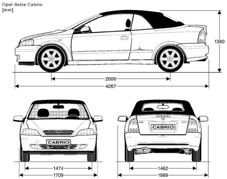 Opel Astra G cabrio rozměry