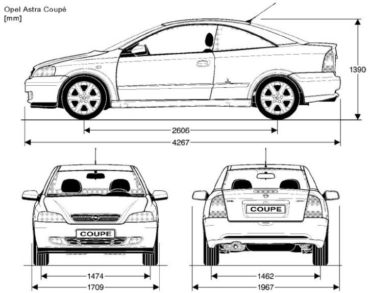 Opel Astra G coupé rozměry