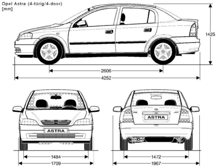 Opel Astra G sedan rozměry