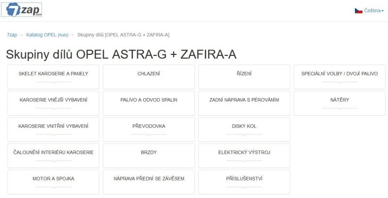 Katalog náhradních dílů Opel Astra G - Zafira A