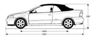 rozměry - opel astra g cabrio