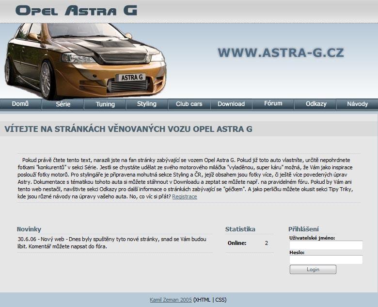 Opel Astra G web je tu již 6 let s Vámi